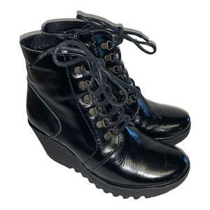 FLY LONDON Ygot Black Patent Platform Wedge Lace Up Bootie Ankle Boot 40
